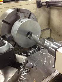 Click image for larger version.  Name:Adapter getting drilled with 2 inch bit.jpg Views:43 Size:15.1 KB ID:496417