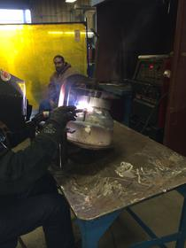 Click image for larger version.  Name:Bowl getting welded by Rick.jpg Views:46 Size:12.0 KB ID:496473